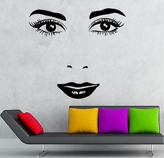 Face Vinyl Decal Sexy Girl Lips Beauty Makeup Salon Wall Stickers (ig2332)