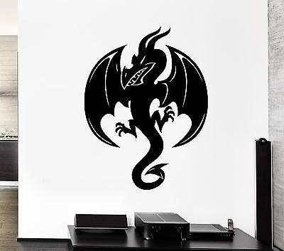 Wall Decal Black Dragon Snake Fire Monster Wings Scales Vinyl Stickers Unique Gift (ed190)