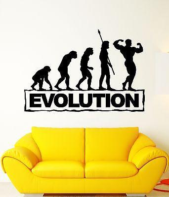 Wall Decal Evolution Progress Darwin Funny Human Athlete Vinyl Stickers Unique Gift (ed156)