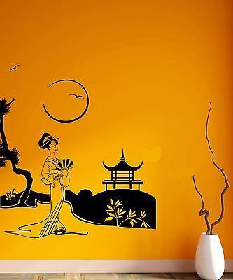 Wall Decal Japan Geisha East Landscape Nature Birds Mural Vinyl Stickers Unique Gift (ed071)