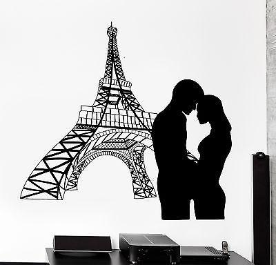 Wall Decal Paris France Eiffel Tower Love Couple Vinyl Decal Unique Gift (z3128)