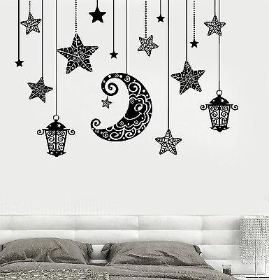 Wall Decal Moon Stars Light Romanic Mural For Bedroom Vinyl Decal (z3190)