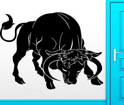 Wall Sticker Vinyl Decal Bull With Horns Aggrssive Animal Corrida Decor Unique Gift z2458