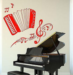 Wall Vinyl Music Accordion Set Of Notes Guaranteed Quality Decal (z3489)