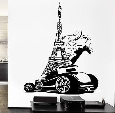 Wall Decal Paris Eiffel Tower France Luxury Car Automobile Sexy Girl Unique Gift z2844