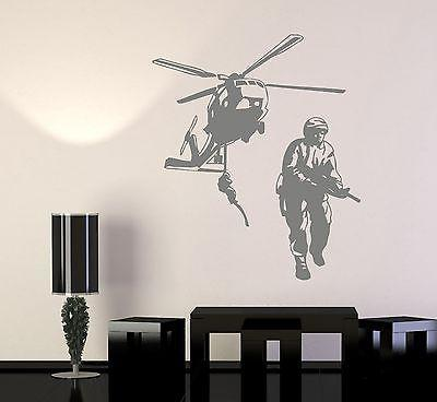 Wall Vinyl Helicopter Soldier Marine Guaranteed Quality Decal Unique Gift (z3440)