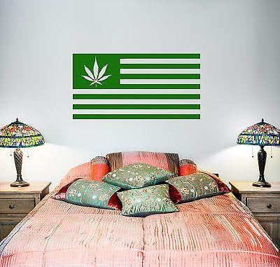 Wall Vinyl Marihuana Marihuana Weed Flag Mural Vinyl Decal Unique Gift (z3388)