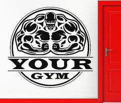 Bodybuilding Gym Iron Sport Weight Decor Wall Vinyl Sticker- Put Your Name z826