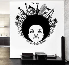 Wall Vinyl Get Into Music Black African American Girl Guaranteed Quality z3515