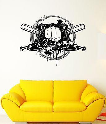 Wall Decal Crime Fist Bat Brass Knuckles Fight Boots Vinyl Stickers Unique Gift (ed015)