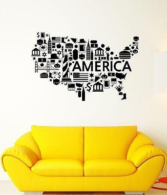 Wall Decal America Flag Statue Of Liberty Usd Hamburger Vinyl Stickers (ed087)
