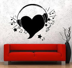 Wall Vinyl Music Hearts Headphones Notes Guaranteed Quality Decal Unique Gift (z3563)
