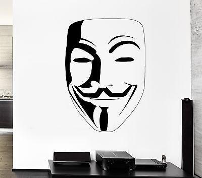 Wall Decal Guy Fawkes Vendetta Mask Revenge Mural Vinyl Stickers Unique Gift (ed049)