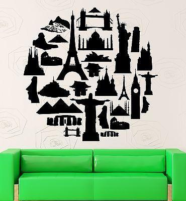 Wall Stickers Travel Agency Tourist Attraction Europe Asia Vinyl Decal Unique Gift (ig2396)