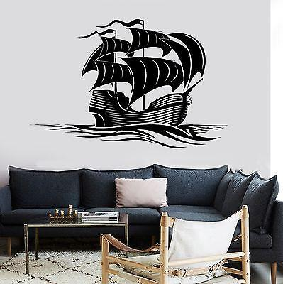 Wall Decal Sail Boat Ocean Marine Sea Waves Vinyl Sticker For Living Room Unique Gift z2832