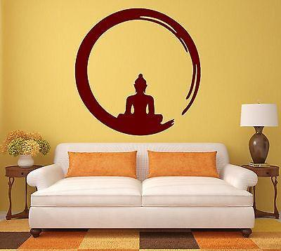 Buddha Wall Sticker Vinyl Decal Buddhism Meditation Circle Enso Zen Religion (ig342)
