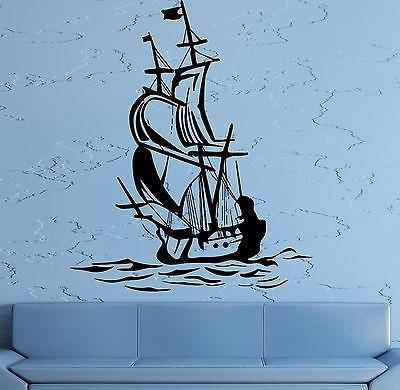 Wall Sticker Sail Boat Ocean Ship Yacht Marine Sea Waves Living Room Unique Gift (z2829)
