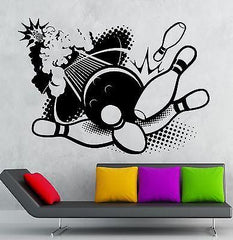 Bowling Wall Sticker Sport Entertainment Center Vinyl Decal Unique Gift (ig1264)
