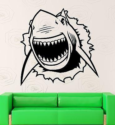 Wall Sticker Vinyl Decal Shark Ocean Marine Crack Room Decor (ig2142)