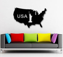 Wall Stickers Vinyl Decal Map of United States USA Statue of Liberty Unique Gift (ig840)