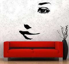 Wall Decal Eyes Face Beautiful Girl Woman Smile Vinyl Sticker Unique Gift (z3604)