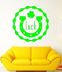 Luck Wall Stickers Ireland Irish Shamrock Mascot Horseshoe Vinyl Decal Unique Gift (ig2409)