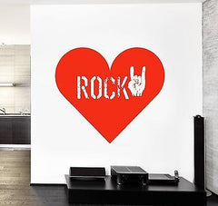 Wall Vinyl Music Rock Heart Love Guaranteed Quality Decal (z3499)