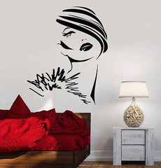 Wall Decal Fashion Girl Woman Young Lady Face Vinyl Sticker (z3617)