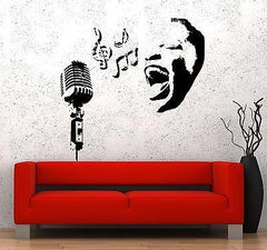 Wall Decal Music Black Woman Microphone Notes Vinyl Sticker Unique Gift (z3585)