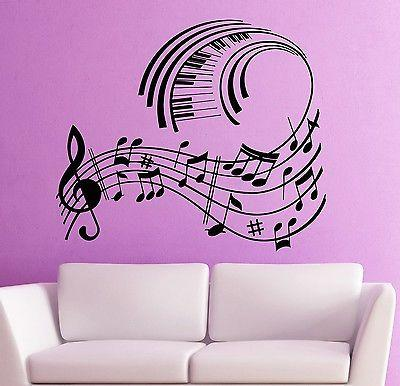 Wall Stickers Vinyl Decal Music Notes Musical Room Decor (ig1783)
