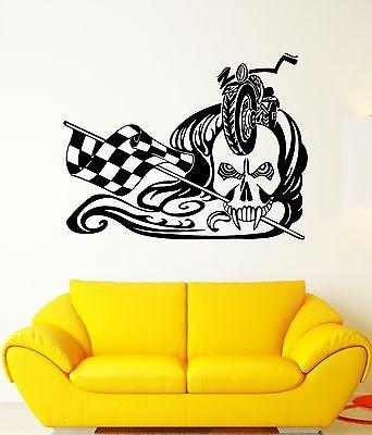 Wall Decal Biker Skull Bike Race Rocker Freedom Finish Vinyl Stickers Unique Gift (ed031)