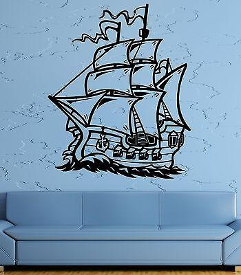 Wall Decal Ship Sailboat Sea Ocean Waves Frigate Helm Vinyl Stickers Unique Gift (ed194)