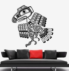 Wall Decal Bird Raven Indian Ornament Tribal Mural Vinyl Decal Unique Gift (z3179)