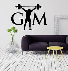 Gym Bodybuilding Barbell Sports Fitness Muscled Wall Sticker Vinyl Decal ig2070