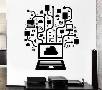 Wall Decal Computer Online Social Network Gamer Internet Teen PC Vinyl Unique Gift (ig2558)