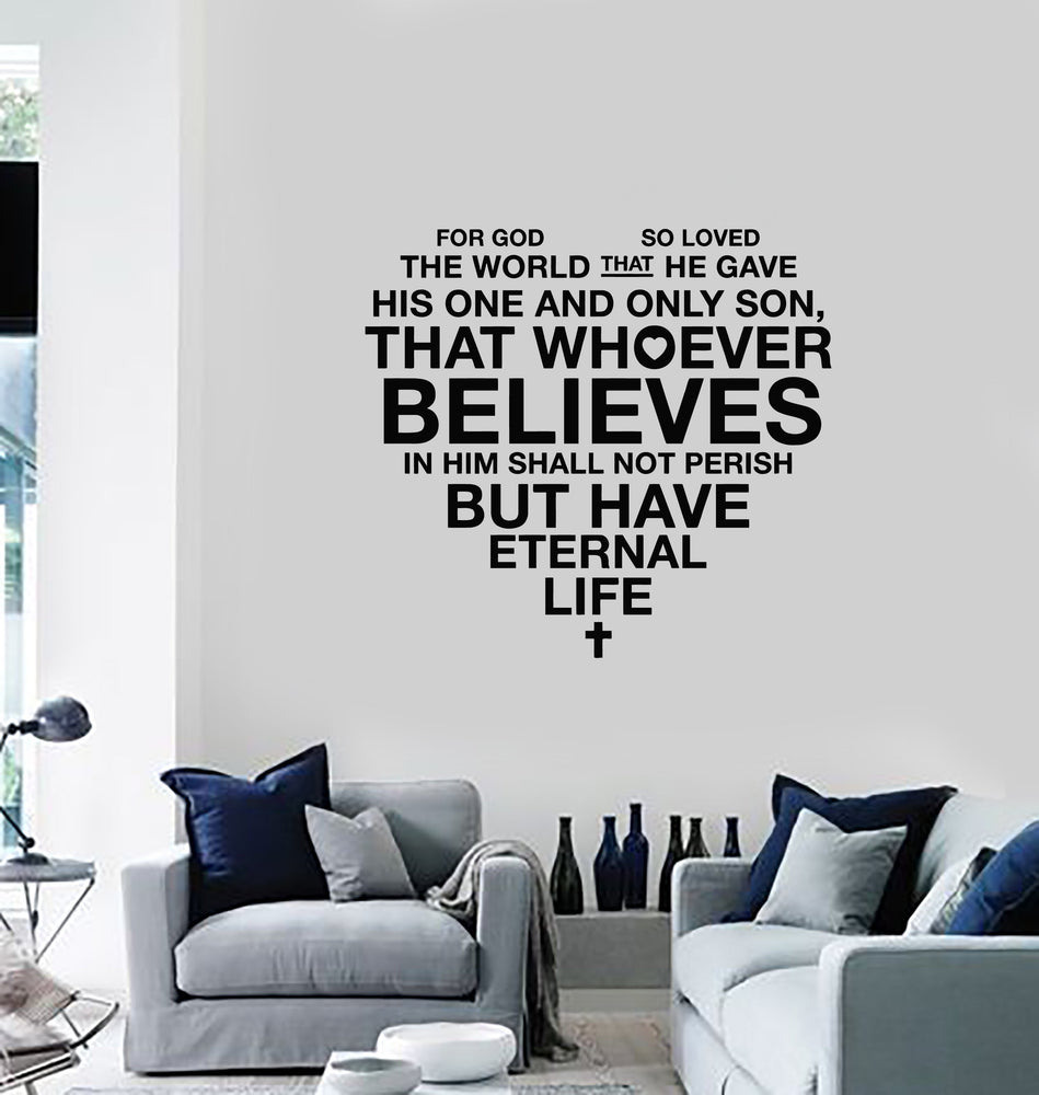Vinyl Wall Decal Bible Verse Heart Christianity Religion Home