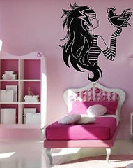 Emo Alternative Girl And Bird Teen Decor Wall MURAL Vinyl Art Stickers z841