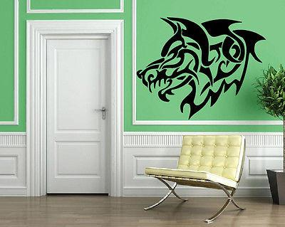 GREY WOLF ROAR TRIBAL DECOR Wall MURAL Vinyl Art Sticker Unique Gift M193