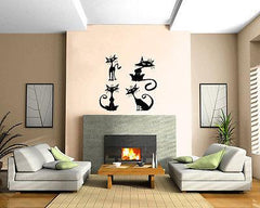 Cartoon Cats on the Roof Domestic Pussy Cats Wall MURAL Vinyl Art Sticker M015