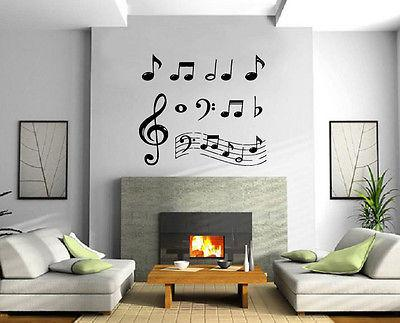 Music Notes Paper Musical Keys Entertainment Decor Wall mural vinyl decal Unique Gift m379