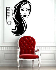 Female Face Hot Sexy Hair Spa Salon  Mural  Wall Art Decor Vinyl Sticker z597