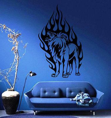 Lion's Roar In Flames King of the Jungle Wall MURAL Vinyl Art Sticker Decal Unique Gift M301
