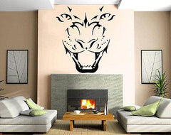 Pantera Face Roar Canines Hunter Animal Decor Wall MURAL Vinyl Art Sticker Unique Gift M345