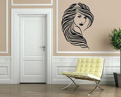 Beautiful Girl Wavy Hair Salon Wall Decor Mural Vinyl Decal Art Sticker Unique Gift M097