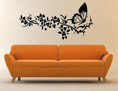 Flowers and Butterfly Floral Decorative Design Wall Mural Vinyl Art Sticker M316