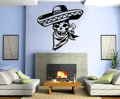 COWBOY SKULL SMOKING Wall MURAL Vinyl Art Sticker Unique Gift M243