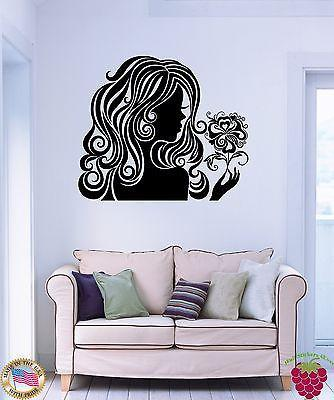 Wall Stickers Vinyl Decal Beautiful Girl With Nice Hair Holding Flower z1156