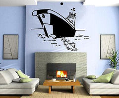 Cartoon Fishing Boat Marine Decor Kids Room Wall MURAL Vinyl Art Sticker M342