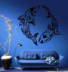 DOLPHIN VS SHARK OCEAN SEA MARINE TRIBAL DECOR Wall MURAL Vinyl Art Sticker Unique Gift M213