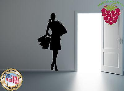 Vinyl Sticker Wall Art Decor Shopaholic Fashion Bags Mall High Heels Salon Unique Gift EM280